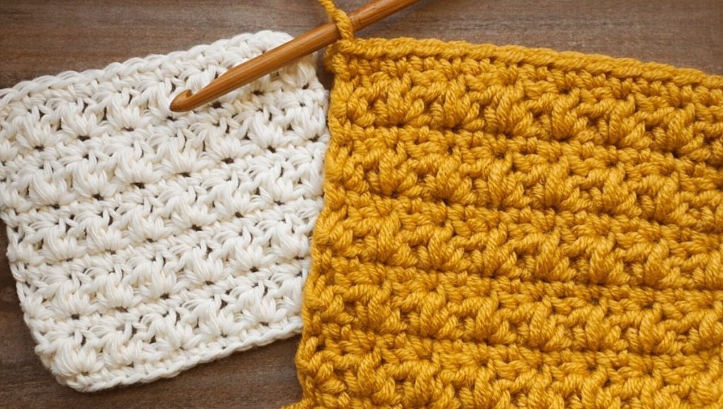 mixed cluster stitch swatches