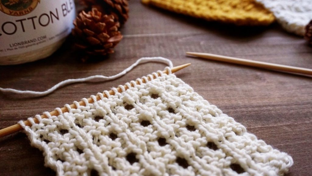 textured eyelets swatch