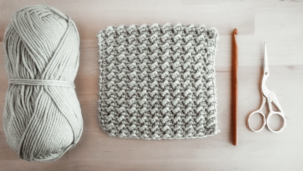 moss stitch materials and swatch